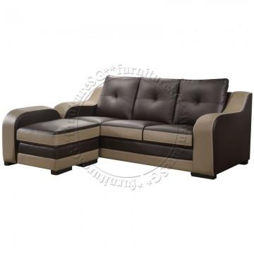 Malone Faux Leather 3-Seater Sofa + Stool