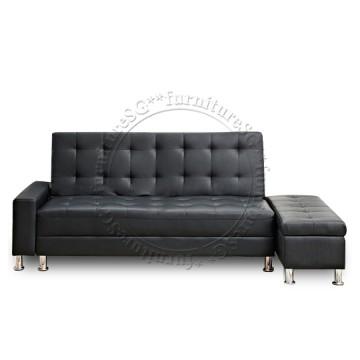 Lisbon Faux Leather Storage Sofa (Black)